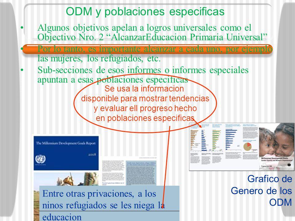 ODM y poblaciones especificas Algunos objetivos apelan a logros universales como el Objectivo Nro. 2 AlcanzarEducacion Primaria Universal Por lo tanto
