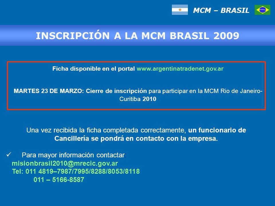 INSCRIPCIÓN A LA MCM BRASIL 2009 Una vez recibida la ficha completada correctamente, un funcionario de Cancillería se pondrá en contacto con la empresa.