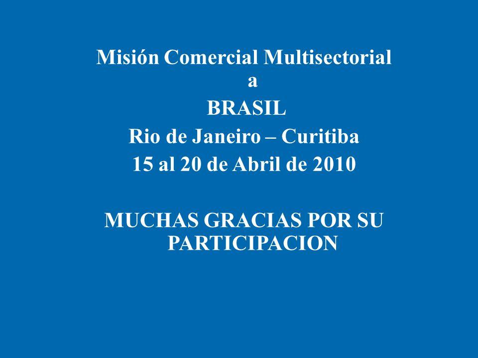Misión Comercial Multisectorial a BRASIL Rio de Janeiro – Curitiba 15 al 20 de Abril de 2010 MUCHAS GRACIAS POR SU PARTICIPACION