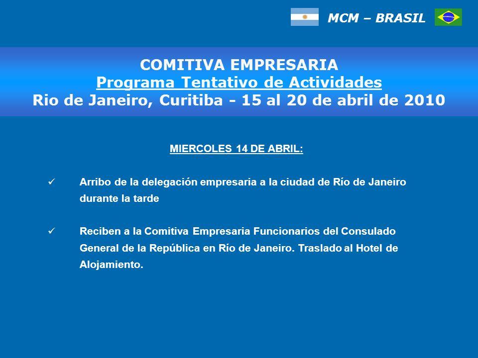 MIERCOLES 14 DE ABRIL: Arribo de la delegación empresaria a la ciudad de Río de Janeiro durante la tarde Reciben a la Comitiva Empresaria Funcionarios del Consulado General de la República en Río de Janeiro.