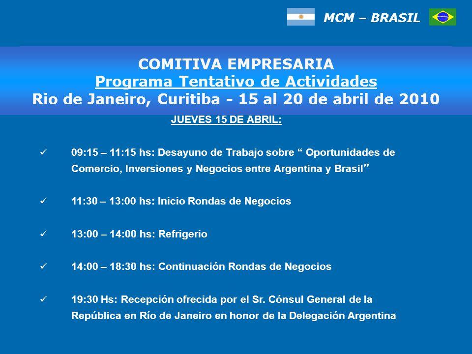 MCM – BRASIL COMITIVA EMPRESARIA Programa Tentativo de Actividades, San Pablo 17 al 20 de marzo de 2009 COMITIVA EMPRESARIA Programa Tentativo de Actividades Rio de Janeiro, Curitiba - 15 al 20 de abril de 2010 JUEVES 15 DE ABRIL: 09:15 – 11:15 hs: Desayuno de Trabajo sobre Oportunidades de Comercio, Inversiones y Negocios entre Argentina y Brasil 11:30 – 13:00 hs: Inicio Rondas de Negocios 13:00 – 14:00 hs: Refrigerio 14:00 – 18:30 hs: Continuación Rondas de Negocios 19:30 Hs: Recepción ofrecida por el Sr.