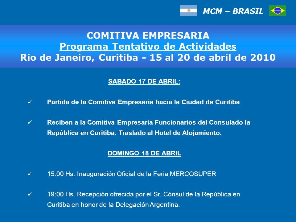 MCM – BRASIL COMITIVA EMPRESARIA Programa Tentativo de Actividades, San Pablo 17 al 20 de marzo de 2009 SABADO 17 DE ABRIL: Partida de la Comitiva Empresaria hacia la Ciudad de Curitiba Reciben a la Comitiva Empresaria Funcionarios del Consulado la República en Curitiba.