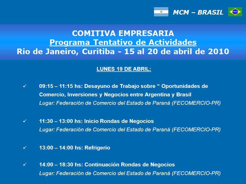MCM – BRASIL COMITIVA EMPRESARIA Programa Tentativo de Actividades Rio de Janeiro, Curitiba - 15 al 20 de abril de 2010 LUNES 19 DE ABRIL: 09:15 – 11:15 hs: Desayuno de Trabajo sobre Oportunidades de Comercio, Inversiones y Negocios entre Argentina y Brasil Lugar: Federación de Comercio del Estado de Paraná (FECOMERCIO-PR) 11:30 – 13:00 hs: Inicio Rondas de Negocios Lugar: Federación de Comercio del Estado de Paraná (FECOMERCIO-PR) 13:00 – 14:00 hs: Refrigerio 14:00 – 18:30 hs: Continuación Rondas de Negocios Lugar: Federación de Comercio del Estado de Paraná (FECOMERCIO-PR)