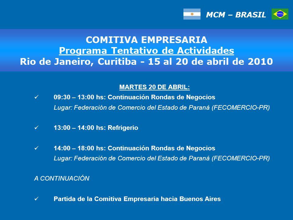 MCM – BRASIL MARTES 20 DE ABRIL: 09:30 – 13:00 hs: Continuación Rondas de Negocios Lugar: Federación de Comercio del Estado de Paraná (FECOMERCIO-PR) 13:00 – 14:00 hs: Refrigerio 14:00 – 18:00 hs: Continuación Rondas de Negocios Lugar: Federación de Comercio del Estado de Paraná (FECOMERCIO-PR) A CONTINUACIÓN Partida de la Comitiva Empresaria hacia Buenos Aires COMITIVA EMPRESARIA Programa Tentativo de Actividades Rio de Janeiro, Curitiba - 15 al 20 de abril de 2010