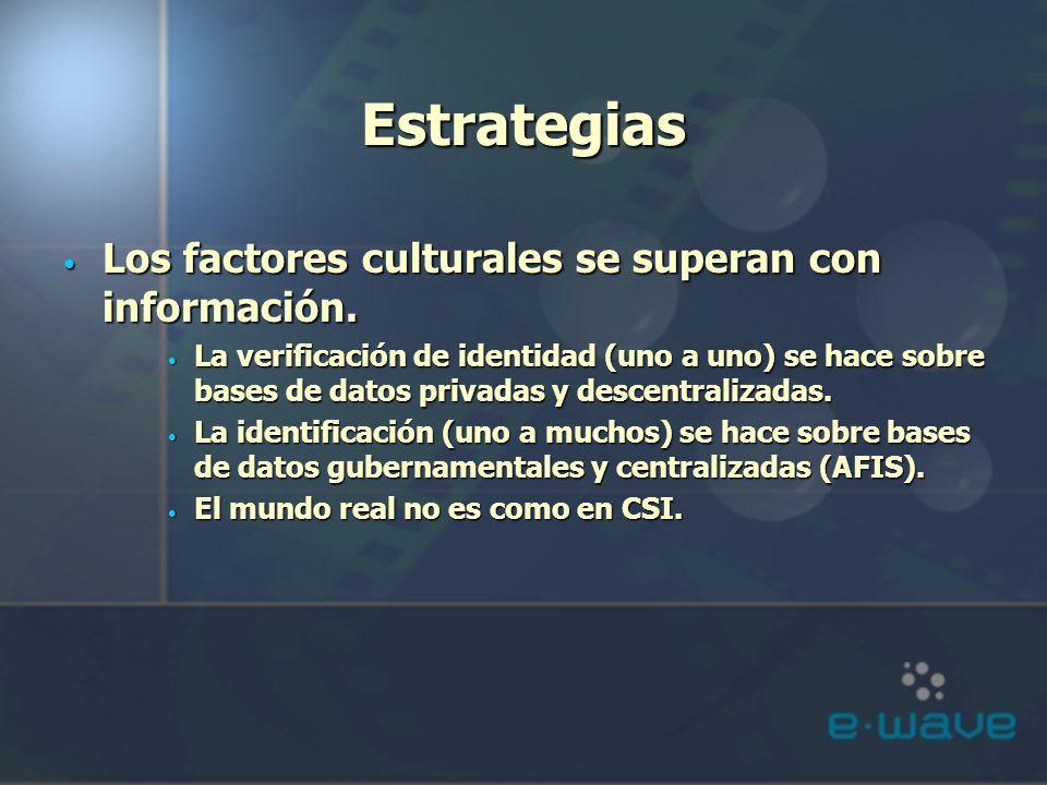 Estrategias Los factores culturales se superan con información. Los factores culturales se superan con información. La verificación de identidad (uno