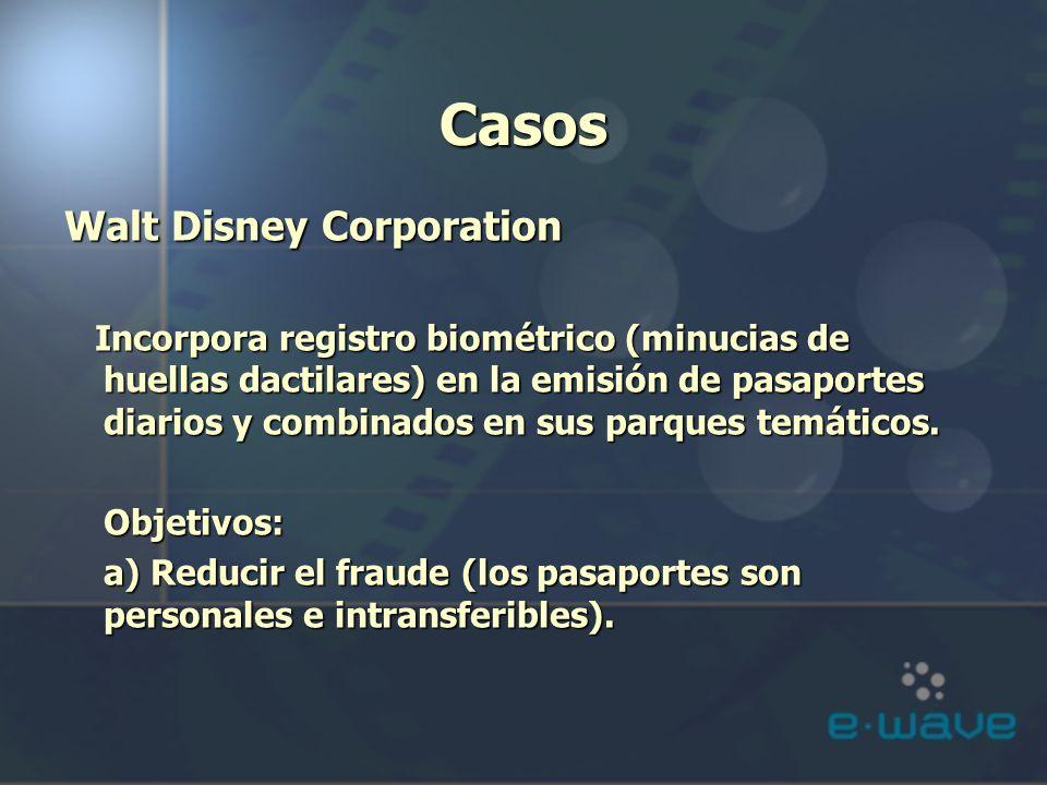 Casos Walt Disney Corporation Incorpora registro biométrico (minucias de huellas dactilares) en la emisión de pasaportes diarios y combinados en sus p