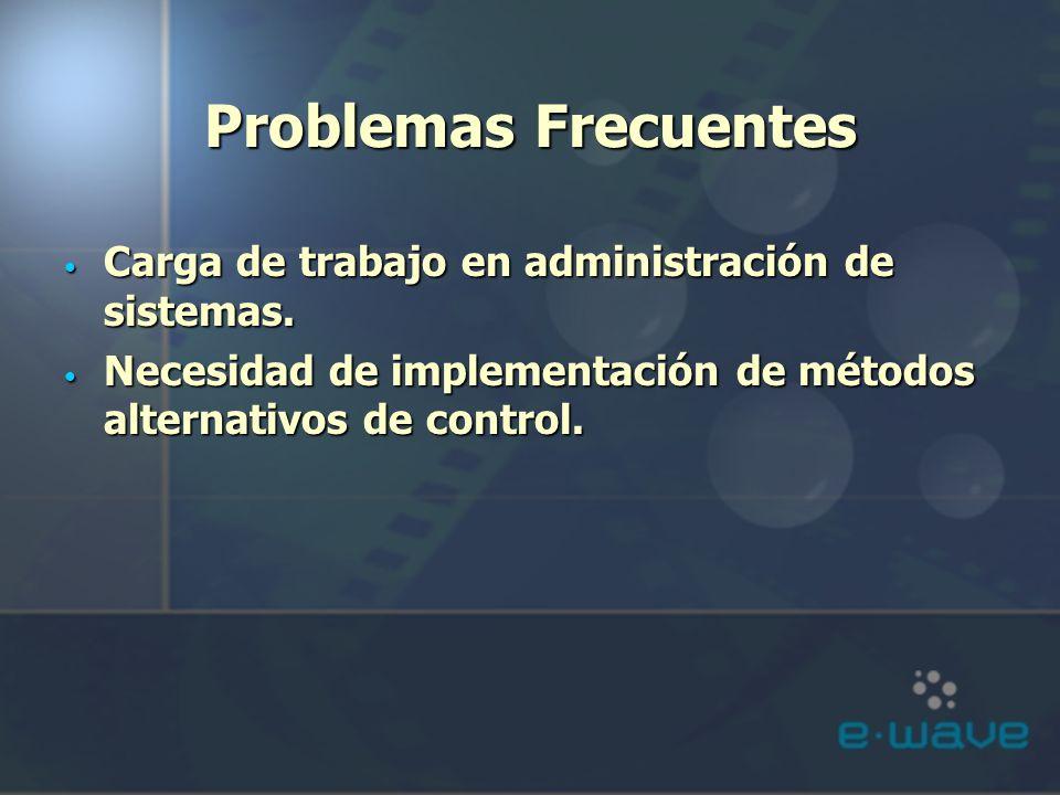 Problemas Frecuentes Carga de trabajo en administración de sistemas. Carga de trabajo en administración de sistemas. Necesidad de implementación de mé