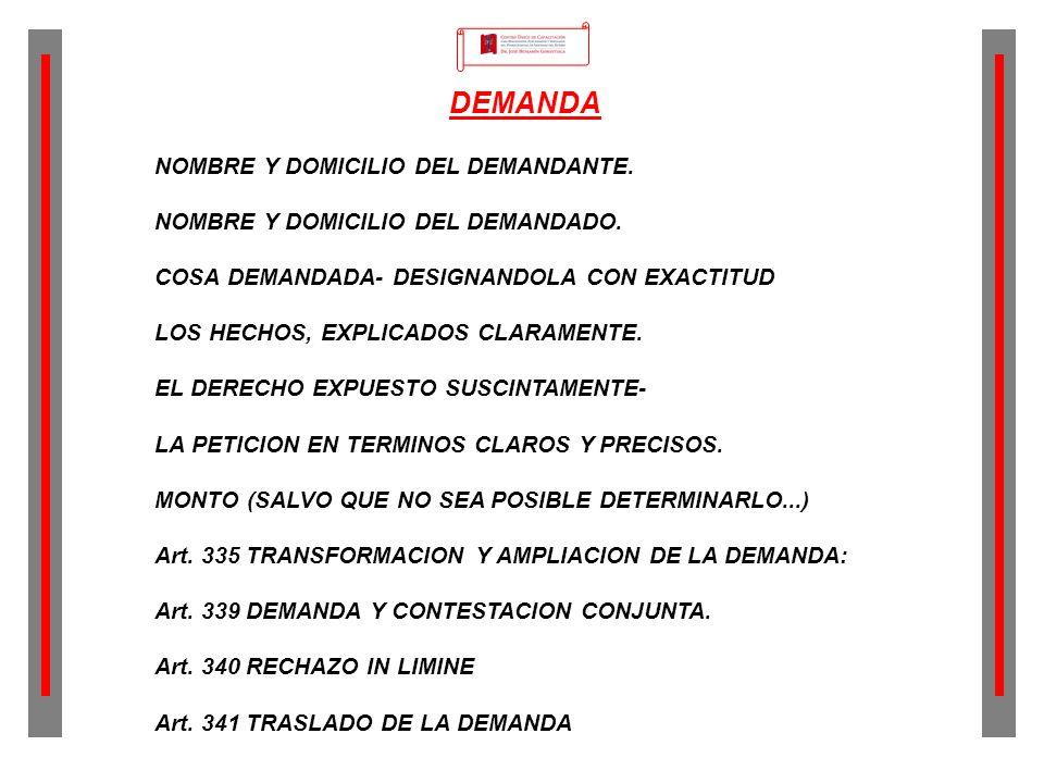DEMANDA NOMBRE Y DOMICILIO DEL DEMANDANTE.NOMBRE Y DOMICILIO DEL DEMANDADO.