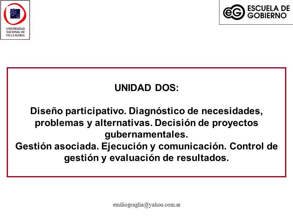 emiliograglia@yahoo.com.ar UNIDAD DOS: Diseño participativo. Diagnóstico de necesidades, problemas y alternativas. Decisión de proyectos gubernamental