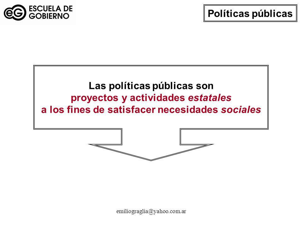 emiliograglia@yahoo.com.ar Las políticas públicas son proyectos y actividades estatales a los fines de satisfacer necesidades sociales Políticas públi