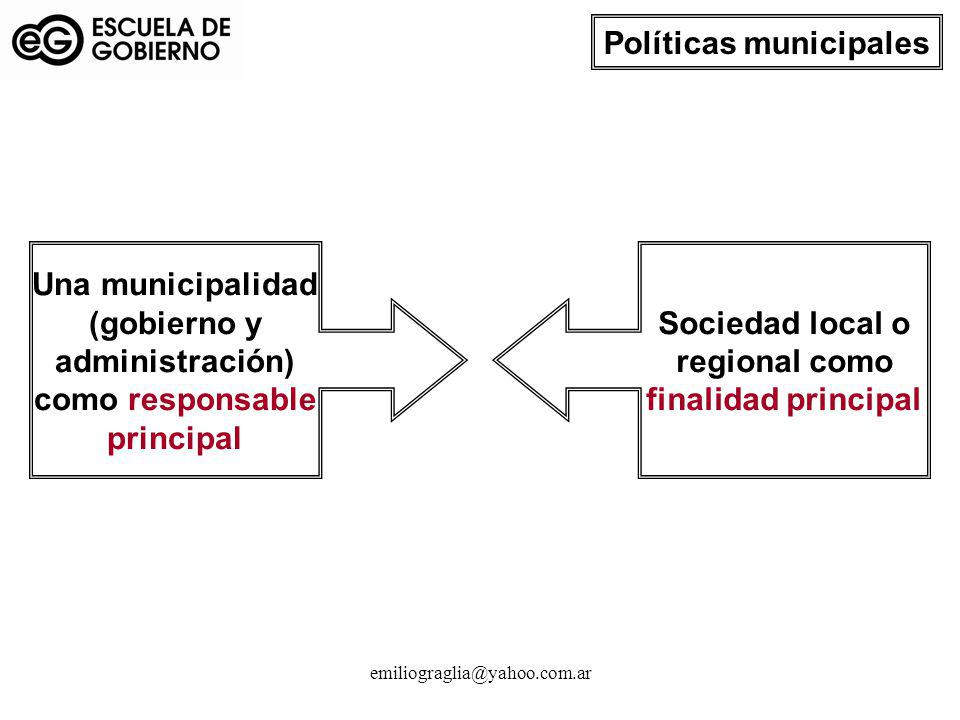 emiliograglia@yahoo.com.ar Sociedad local o regional como finalidad principal Una municipalidad (gobierno y administración) como responsable principal