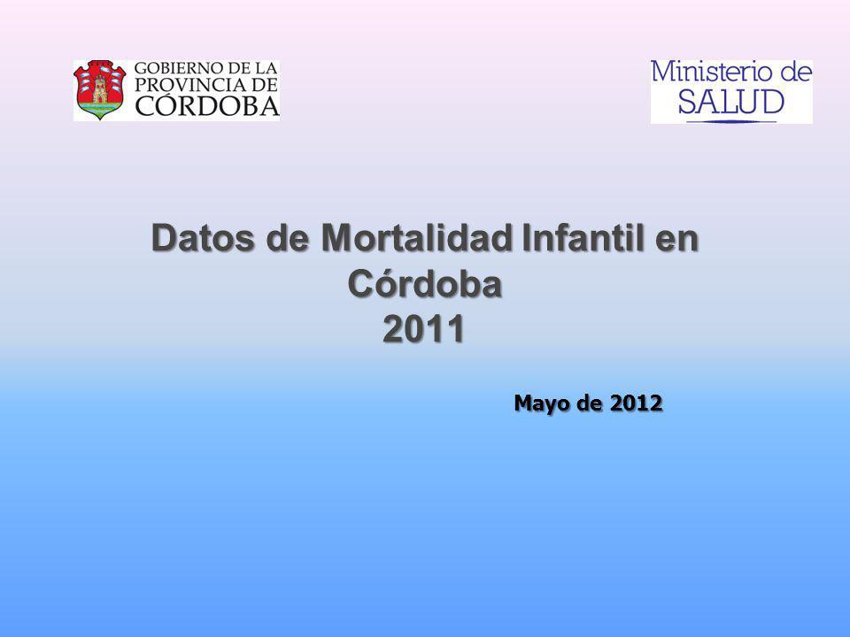 Datos de Mortalidad Infantil en Córdoba 2011 Mayo de 2012