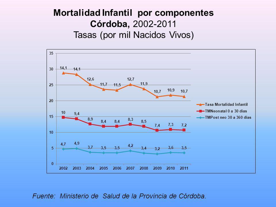Mortalidad Infantil por componentes Córdoba, 2002-2011 Tasas (por mil Nacidos Vivos) Fuente: Ministerio de Salud de la Provincia de Córdoba.