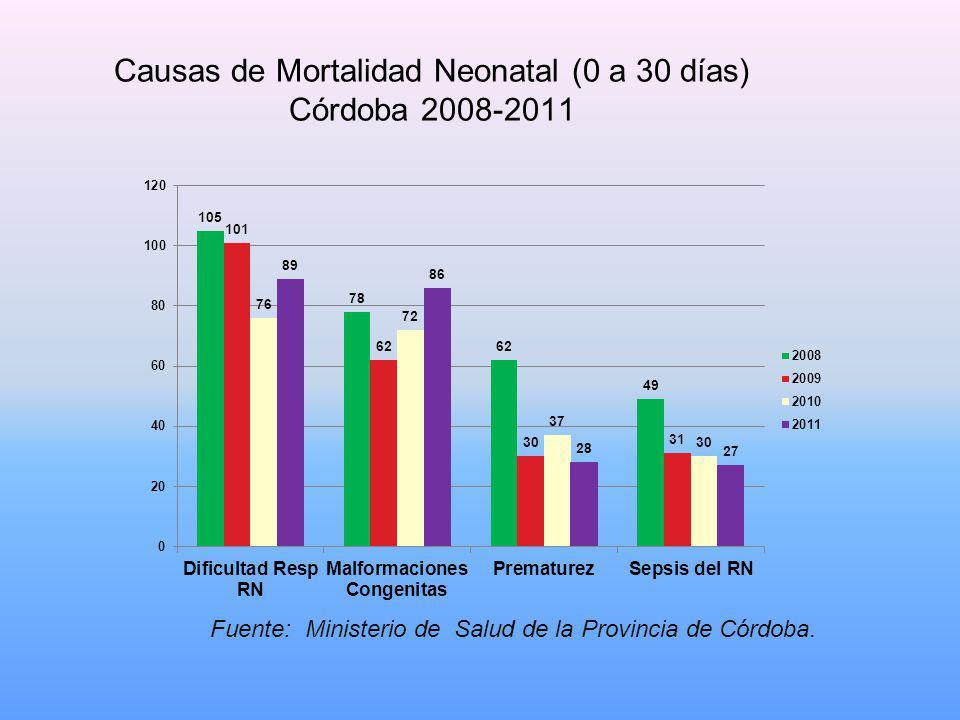 Causas de Mortalidad Neonatal (0 a 30 días) Córdoba 2008-2011 Fuente: Ministerio de Salud de la Provincia de Córdoba.