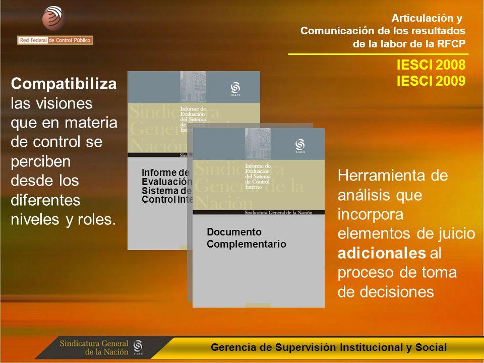 Articulación y Comunicación de los resultados de la labor de la RFCP Gerencia de Supervisión Institucional y Social Informe de Evaluación del Sistema de Control Interno Compatibiliza las visiones que en materia de control se perciben desde los diferentes niveles y roles.