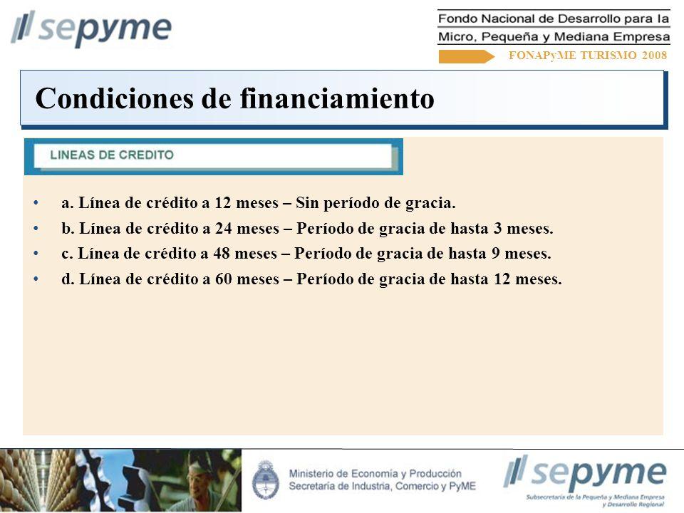 Condiciones de financiamiento FONAPyME TURISMO 2008 a.