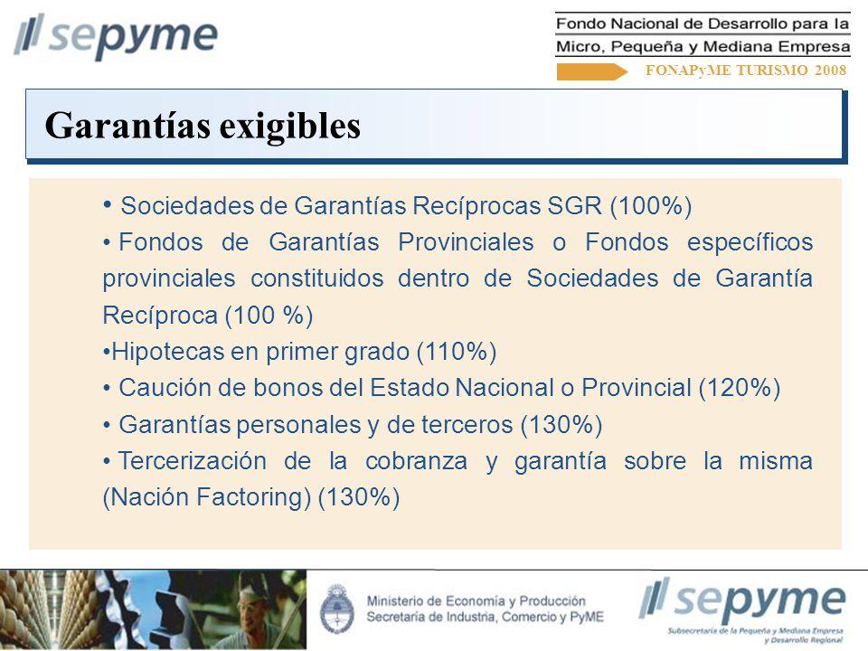 Garantías exigibles FONAPyME TURISMO 2008 Sociedades de Garantías Recíprocas SGR (100%) Fondos de Garantías Provinciales o Fondos específicos provinciales constituidos dentro de Sociedades de Garantía Recíproca (100 %) Hipotecas en primer grado (110%) Caución de bonos del Estado Nacional o Provincial (120%) Garantías personales y de terceros (130%) Tercerización de la cobranza y garantía sobre la misma (Nación Factoring) (130%)