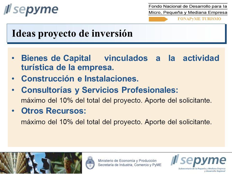 Ideas proyecto de inversión Bienes de Capital vinculados a la actividad turística de la empresa.