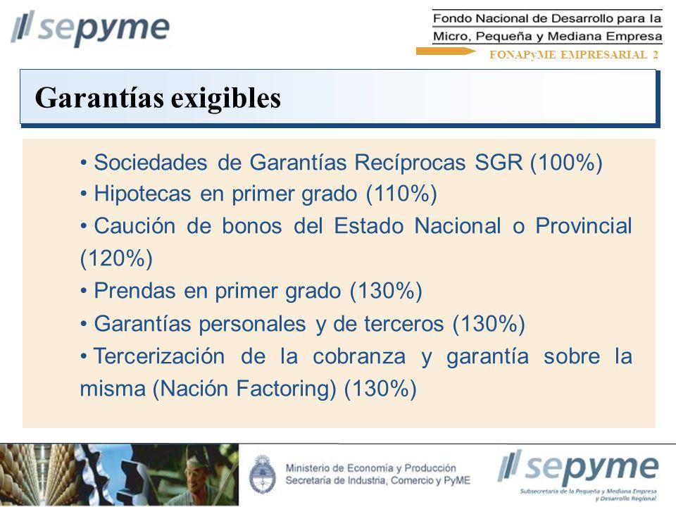 Garantías exigibles FONAPyME EMPRESARIAL 2 Sociedades de Garantías Recíprocas SGR (100%) Hipotecas en primer grado (110%) Caución de bonos del Estado