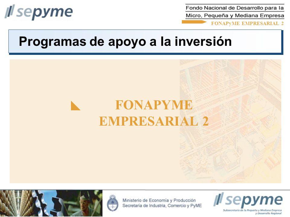 Programas de apoyo a la inversión FONAPYME EMPRESARIAL 2 FONAPyME EMPRESARIAL 2