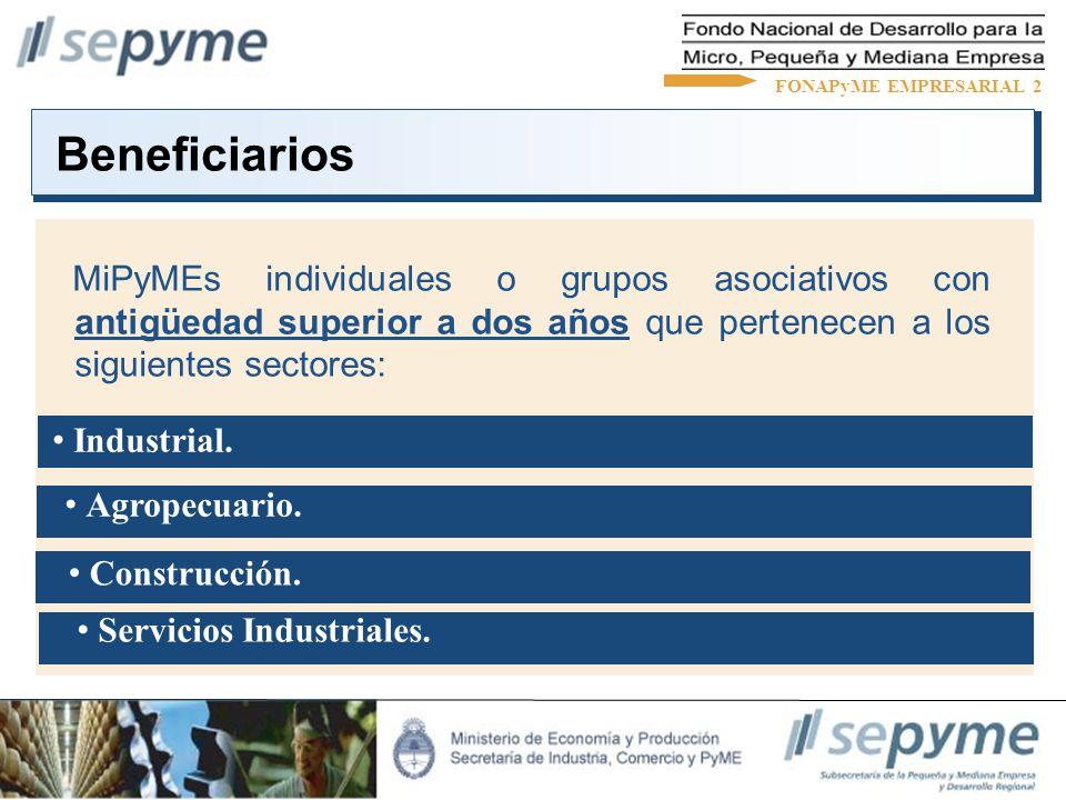 MiPyMEs individuales o grupos asociativos con antigüedad superior a dos años que pertenecen a los siguientes sectores: Beneficiarios FONAPyME EMPRESAR
