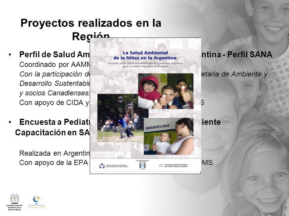Proyectos realizados en la Región Perfil de Salud Ambiental de la Niñez en la Argentina - Perfil SANA Coordinado por AAMMA y CICH Con la participación de la SAP, Ministerio de Salud, Secretaria de Ambiente y Desarrollo Sustentable y socios Canadienses: Health Canada, Univ.