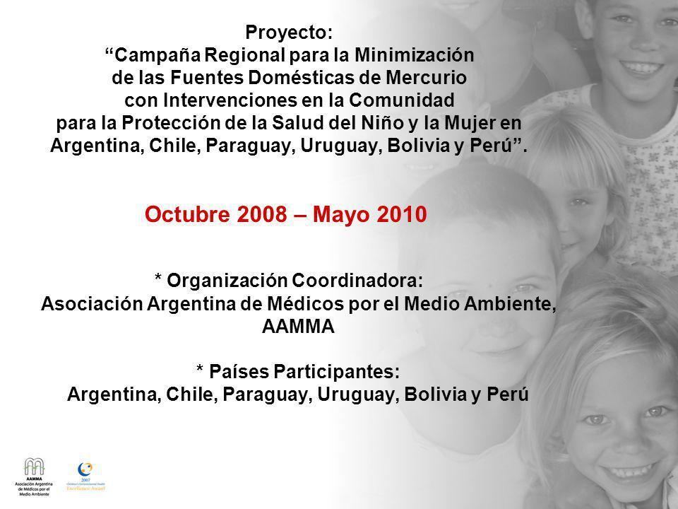 Proyecto: Campaña Regional para la Minimización de las Fuentes Domésticas de Mercurio con Intervenciones en la Comunidad para la Protección de la Salud del Niño y la Mujer en Argentina, Chile, Paraguay, Uruguay, Bolivia y Perú.