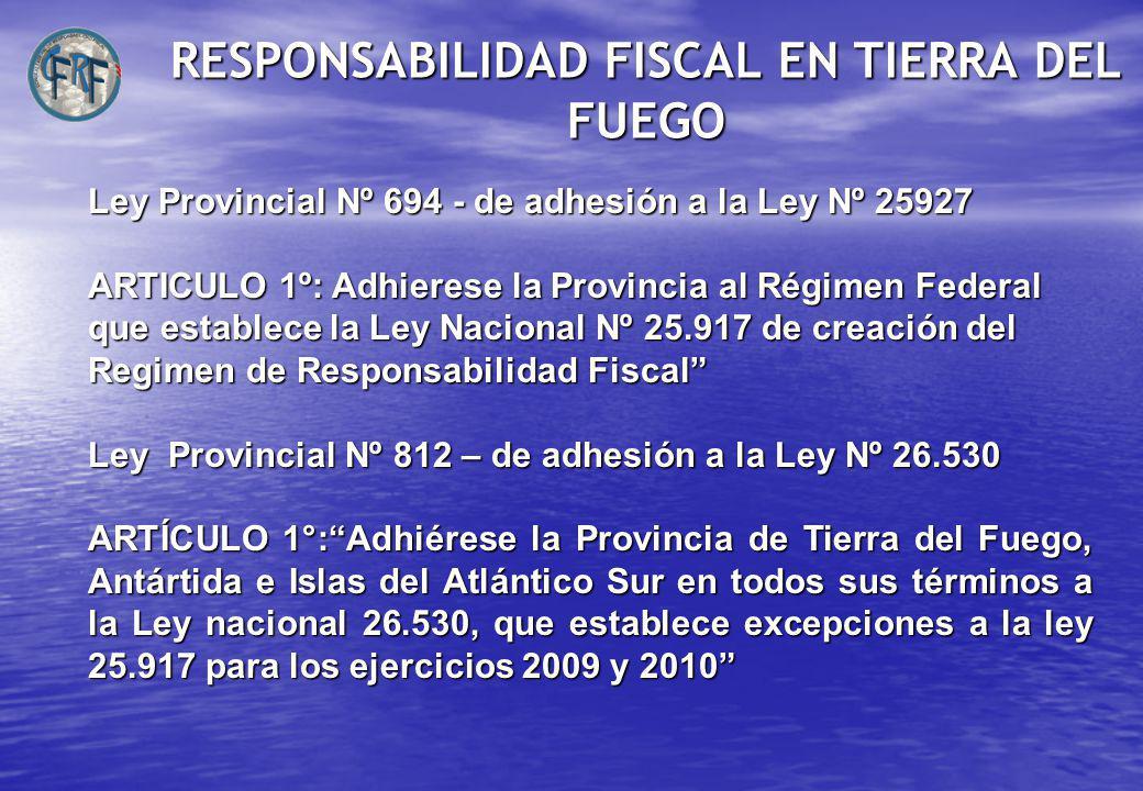 RESPONSABILIDAD FISCAL EN TIERRA DEL FUEGO Ley Provincial Nº 694 - de adhesión a la Ley Nº 25927 ARTICULO 1º: Adhierese la Provincia al Régimen Federal que establece la Ley Nacional Nº 25.917 de creación del Regimen de Responsabilidad Fiscal Ley Provincial Nº 812 – de adhesión a la Ley Nº 26.530 ARTÍCULO 1°:Adhiérese la Provincia de Tierra del Fuego, Antártida e Islas del Atlántico Sur en todos sus términos a la Ley nacional 26.530, que establece excepciones a la ley 25.917 para los ejercicios 2009 y 2010