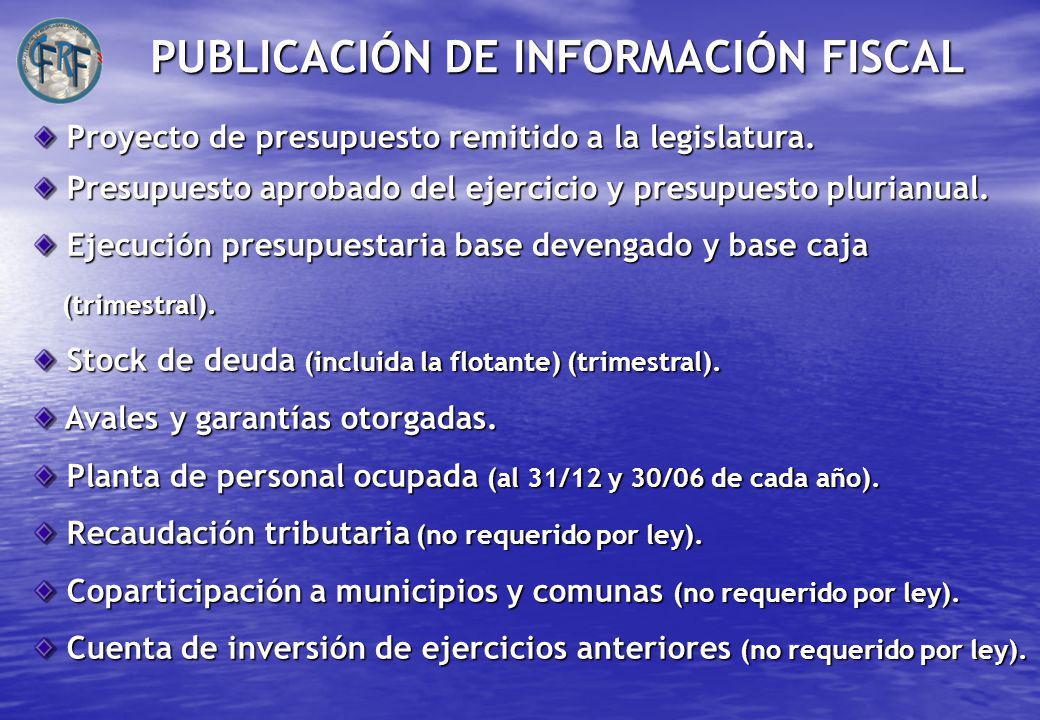 Proyecto de presupuesto remitido a la legislatura.