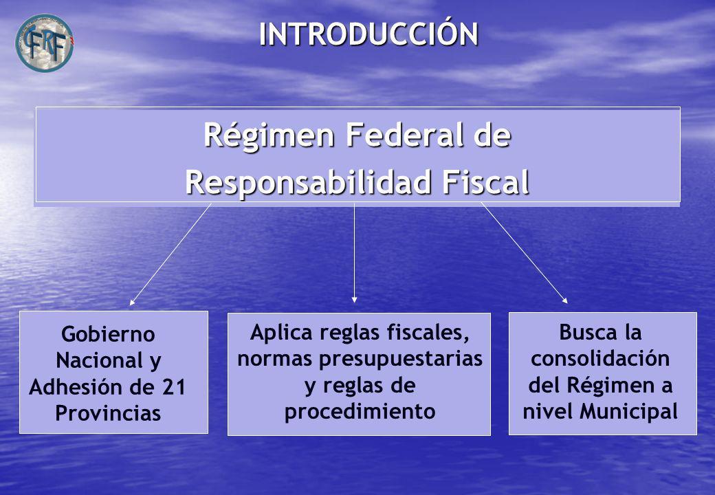 INTRODUCCIÓN Régimen Federal de Responsabilidad Fiscal Gobierno Nacional y Adhesión de 21 Provincias Aplica reglas fiscales, normas presupuestarias y reglas de procedimiento Busca la consolidación del Régimen a nivel Municipal