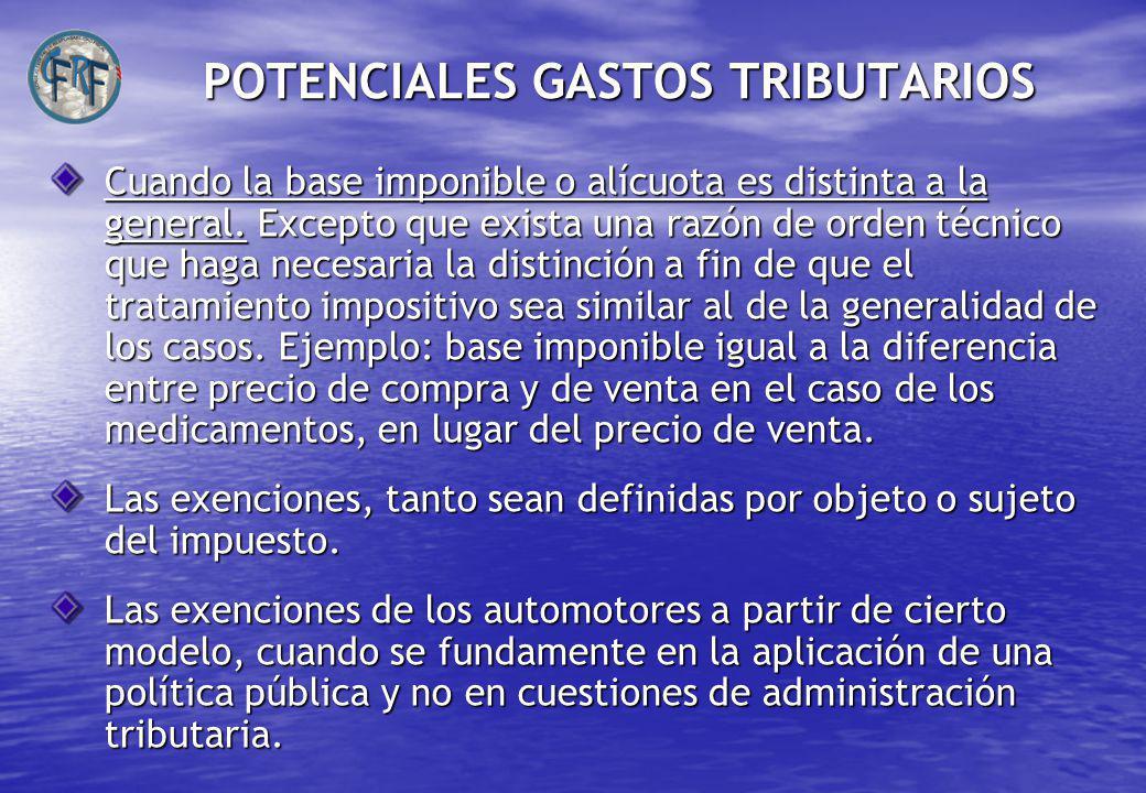 POTENCIALES GASTOS TRIBUTARIOS Cuando la base imponible o alícuota es distinta a la general.