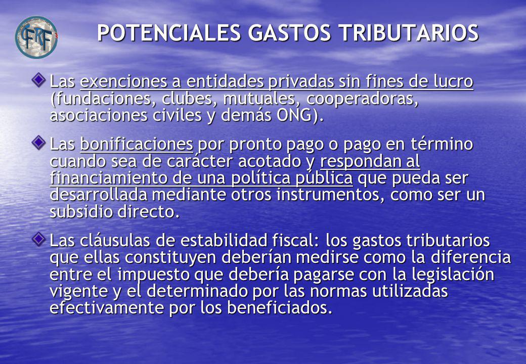 POTENCIALES GASTOS TRIBUTARIOS Las exenciones a entidades privadas sin fines de lucro (fundaciones, clubes, mutuales, cooperadoras, asociaciones civiles y demás ONG).