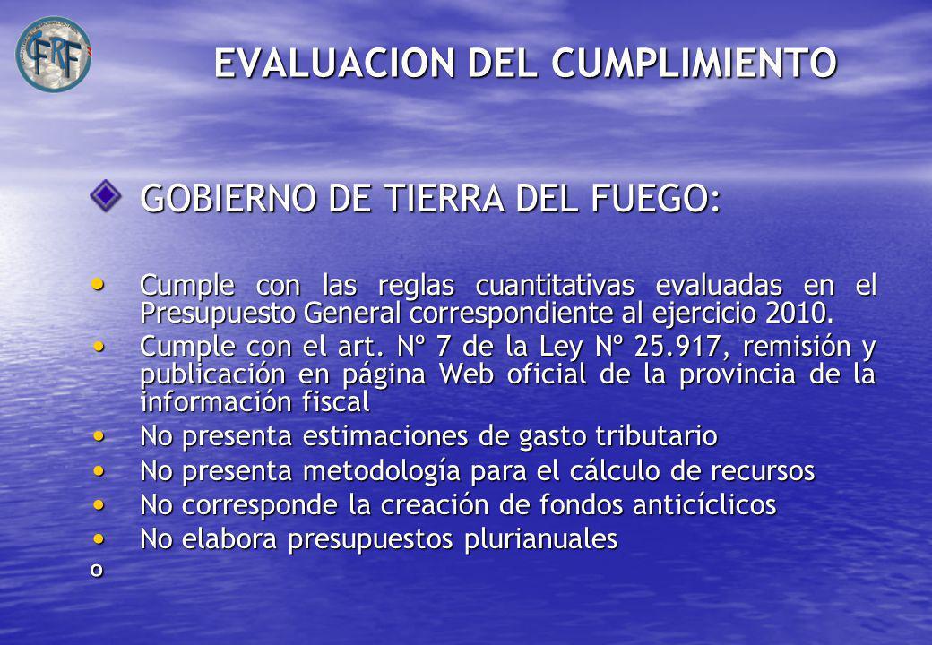 EVALUACION DEL CUMPLIMIENTO GOBIERNO DE TIERRA DEL FUEGO: Cumple con las reglas cuantitativas evaluadas en el Presupuesto General correspondiente al ejercicio 2010.