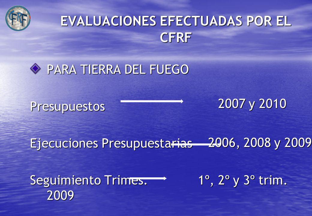 EVALUACIONES EFECTUADAS POR EL CFRF PARA TIERRA DEL FUEGO Presupuestos Ejecuciones Presupuestarias Seguimiento Trimes.