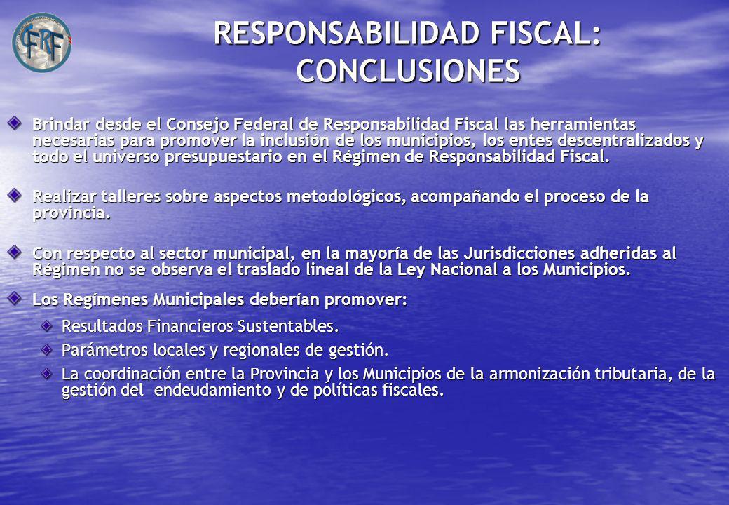 RESPONSABILIDAD FISCAL: CONCLUSIONES Brindar desde el Consejo Federal de Responsabilidad Fiscal las herramientas necesarias para promover la inclusión de los municipios, los entes descentralizados y todo el universo presupuestario en el Régimen de Responsabilidad Fiscal.