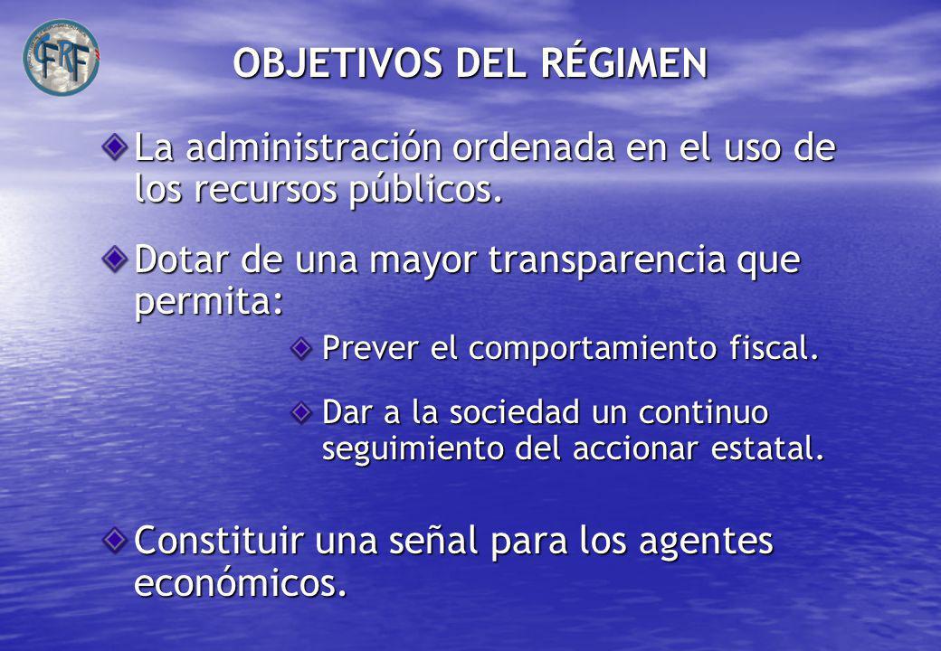 OBJETIVOS DEL RÉGIMEN La administración ordenada en el uso de los recursos públicos.