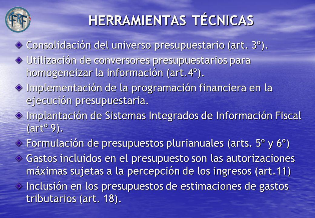 HERRAMIENTAS TÉCNICAS Consolidación del universo presupuestario (art.