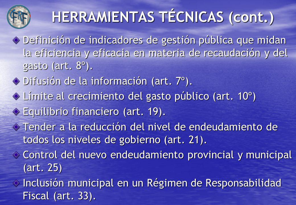 HERRAMIENTAS TÉCNICAS (cont.) Definición de indicadores de gestión pública que midan la eficiencia y eficacia en materia de recaudación y del gasto (art.