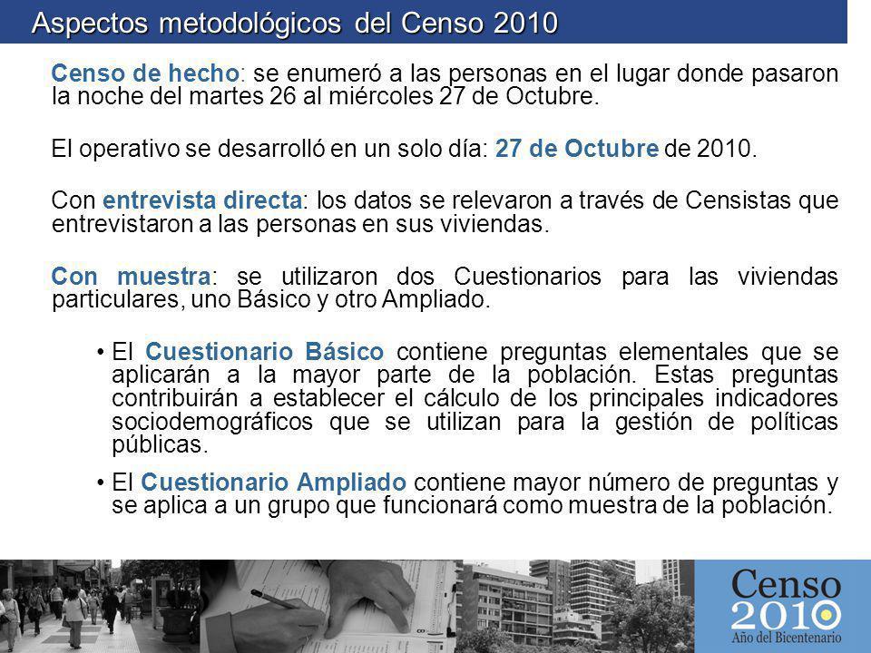 Aspectos metodológicos del Censo 2010 Aspectos metodológicos del Censo 2010 Censo de hecho: se enumeró a las personas en el lugar donde pasaron la noc