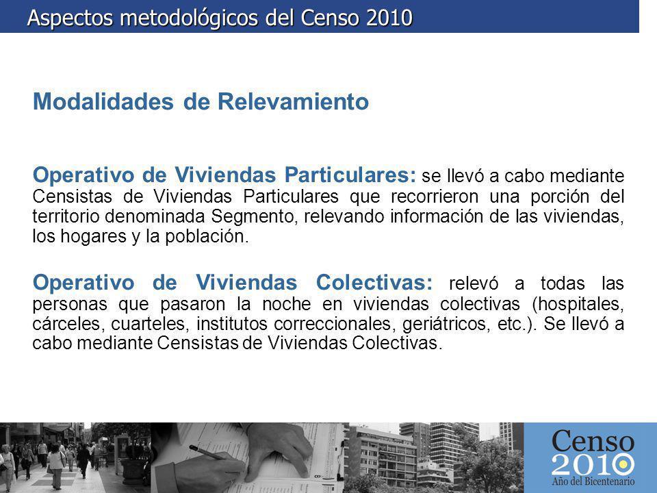 Aspectos metodológicos del Censo 2010 Aspectos metodológicos del Censo 2010 Modalidades de Relevamiento Operativo de Viviendas Particulares: se llevó