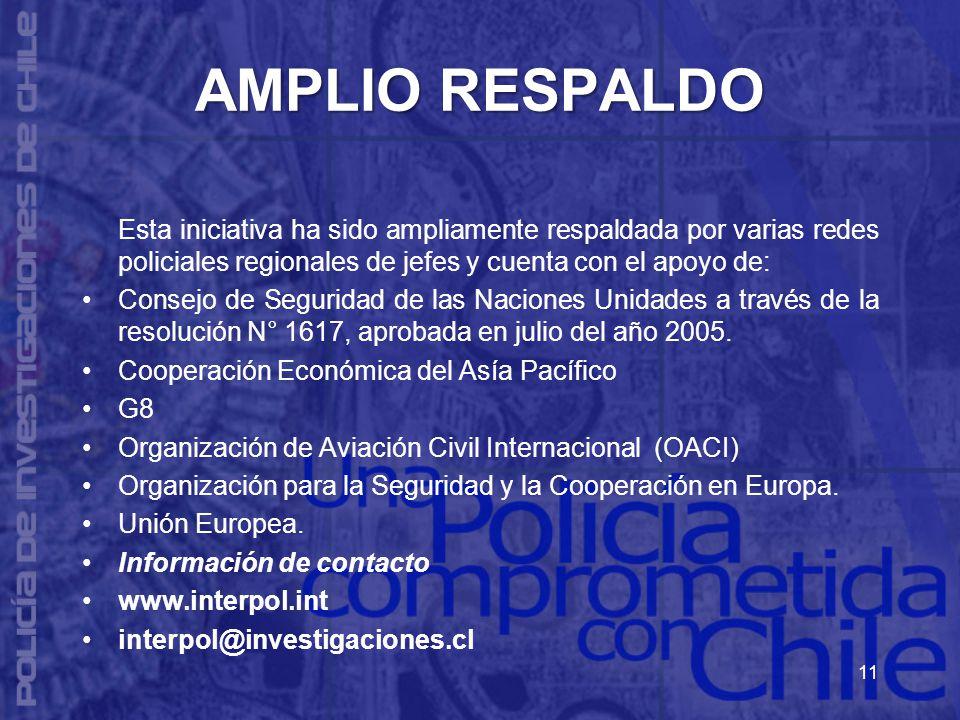 AMPLIO RESPALDO Esta iniciativa ha sido ampliamente respaldada por varias redes policiales regionales de jefes y cuenta con el apoyo de: Consejo de Seguridad de las Naciones Unidades a través de la resolución N° 1617, aprobada en julio del año 2005.