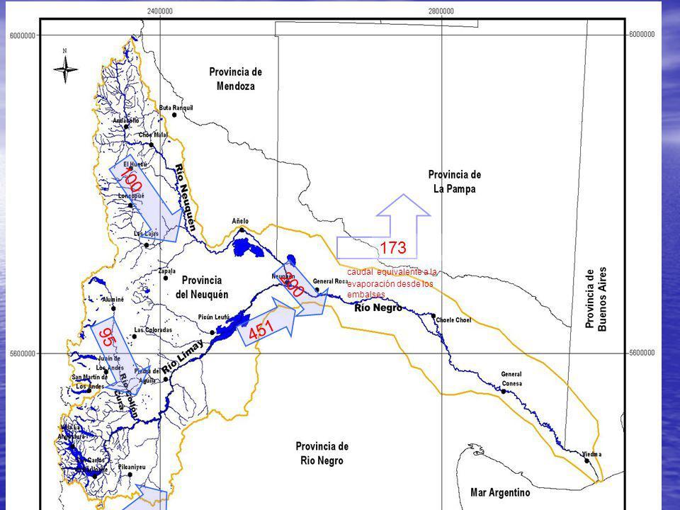 Entrantes y salientes al/del sistema de embalses 200 100 451 167 95 173 caudal equivalente a la evaporación desde los embalses