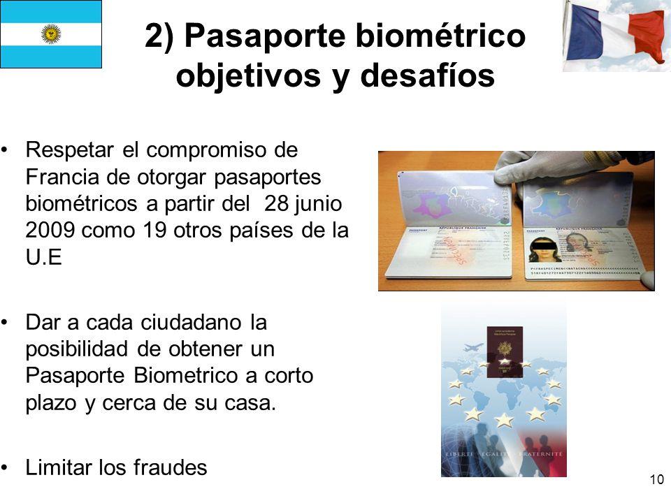 10 2) Pasaporte biométrico objetivos y desafíos Respetar el compromiso de Francia de otorgar pasaportes biométricos a partir del 28 junio 2009 como 19 otros países de la U.E Dar a cada ciudadano la posibilidad de obtener un Pasaporte Biometrico a corto plazo y cerca de su casa.
