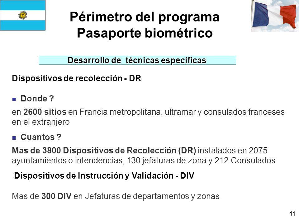 11 Périmetro del programa Pasaporte biométrico Dispositivos de recolección - DR Donde .