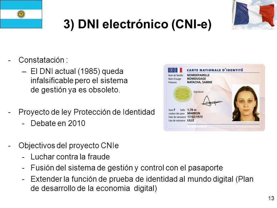 13 3) DNI electrónico (CNI-e) -Constatación : –El DNI actual (1985) queda infalsificable pero el sistema de gestión ya es obsoleto.