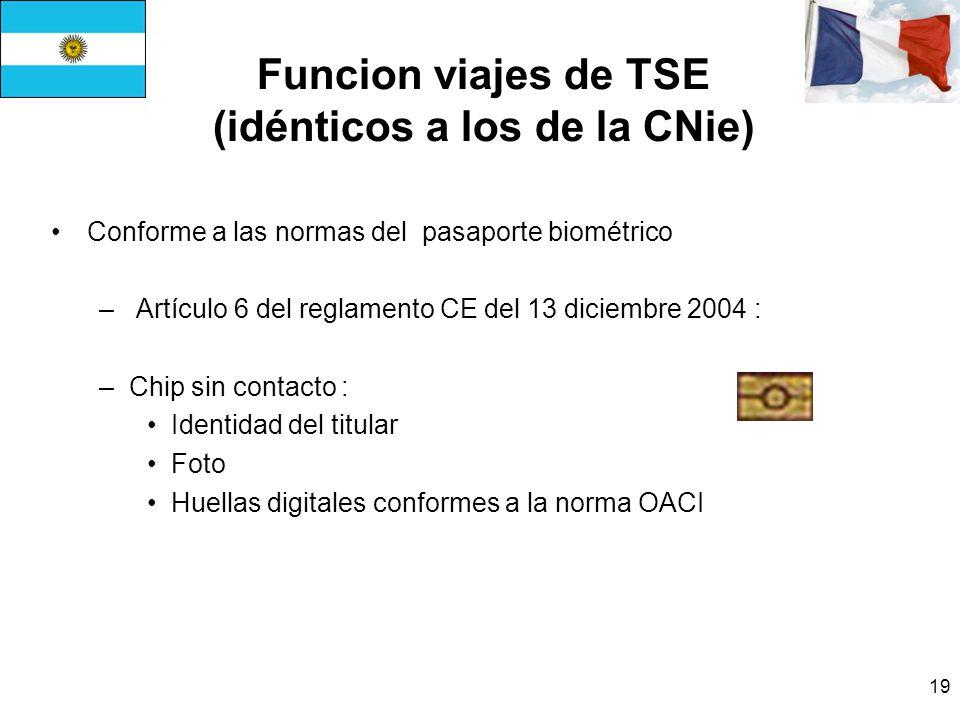 19 Funcion viajes de TSE (idénticos a los de la CNie) Conforme a las normas del pasaporte biométrico – Artículo 6 del reglamento CE del 13 diciembre 2004 : –Chip sin contacto : Identidad del titular Foto Huellas digitales conformes a la norma OACI