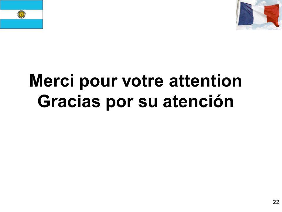 22 Merci pour votre attention Gracias por su atención