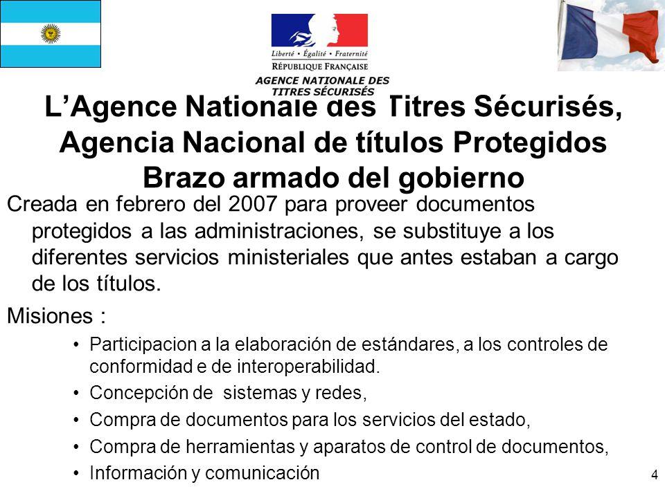 4 LAgence Nationale des Titres Sécurisés, Agencia Nacional de títulos Protegidos Brazo armado del gobierno Creada en febrero del 2007 para proveer documentos protegidos a las administraciones, se substituye a los diferentes servicios ministeriales que antes estaban a cargo de los títulos.