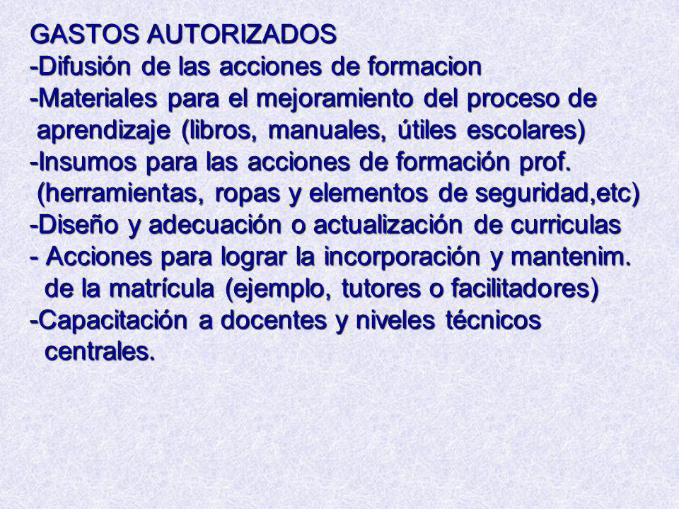 GASTOS AUTORIZADOS -Difusión de las acciones de formacion -Materiales para el mejoramiento del proceso de aprendizaje (libros, manuales, útiles escola