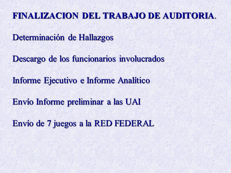 FINALIZACION DEL TRABAJO DE AUDITORIA. Determinación de Hallazgos Descargo de los funcionarios involucrados Informe Ejecutivo e Informe Analítico Enví